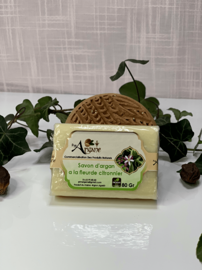 savon à l'huile d'argan et fleurs de citronnier - pimargane fleurs de